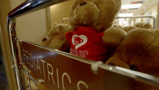 Treasure Thaxton delivers bears to children at The Ayers Children's Medical Center at Jackson-Madison County General Hospital, Friday, Feb 12, 2016. This is the 11th year for Thaxton to deliver the bears.