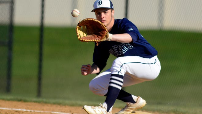 Dallastown first baseman Eric Morrison made two defensive gems to prevent hits during the Wildcats' 7-0 victory over Spring Grove on Thursday.  John A. Pavoncello photo