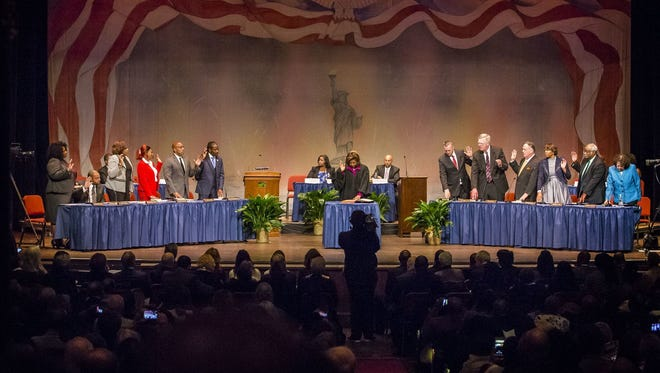 Members of the Wilmington City Council are sworn in during inauguration ceremonies for Wilmington city government.
