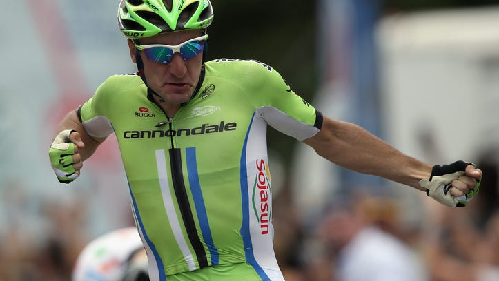 COLORADO SPRINGS, CO - AUGUST 21:  Elia Viviani of Italy riding for Cannondale celebrates his victory in stage four of the 2014 USA Pro Challenge on August 21, 2014 in Colorado Springs, Colorado.
