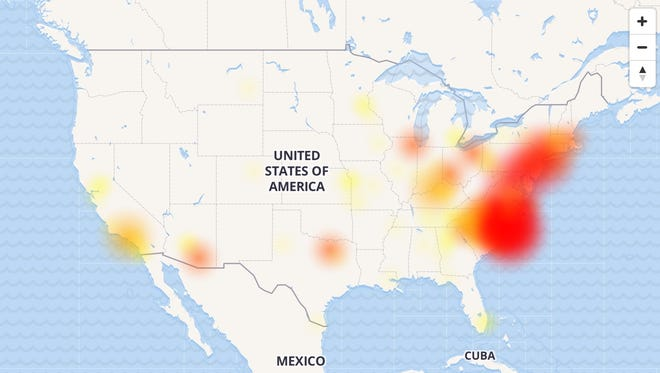 Outages for the Verizon cellular telephone and Internet network, at 4:00 pm EDT on June 19, 2017.
