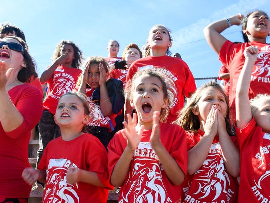 East Heights Elementary students and teachers cheer