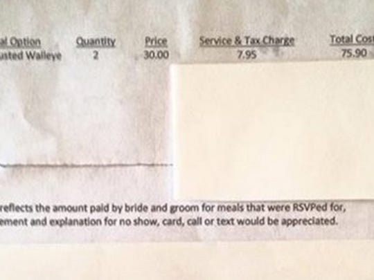 The wedding bill for the herb crusted walleye for two came to $75.90, including tax and service.