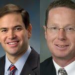 State Rep. Stan Saylor, right, endorses U.S. Sen. Marco Rubio, left, for president.