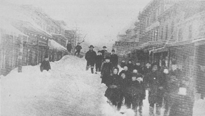 Main Street near Third Street in Haverstraw looking toward the Hudson River during the Blizzard of 1888.