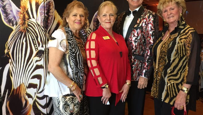 L TO R Co-chair Rochelle Koch, President Brenda Johnson, Emcee Brian Wanzek, Co-chair Faye McClung.