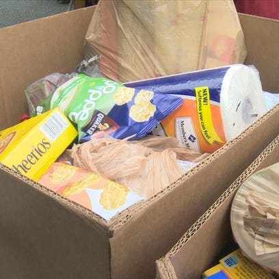 Food collected during the Outnumber Hunger food drive