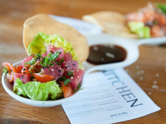 Poke duo with ahi tuna and wild salmon at Keg & Kitchen in Westmont.