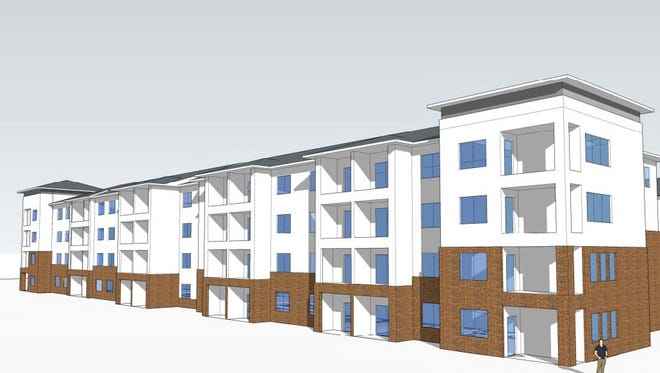 A preliminary conceptual perspective of the four-story building planned at Donelson Station.