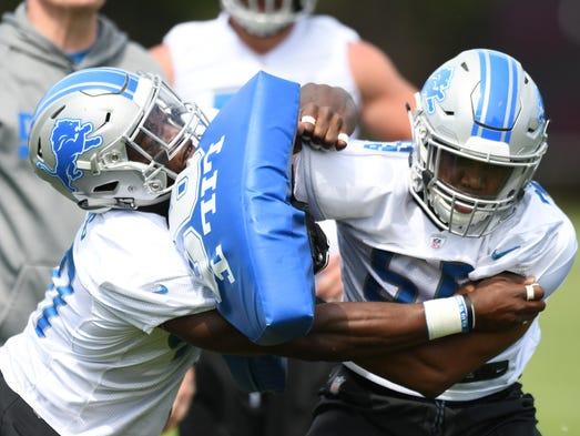 Lions rookie linebacker Jarrad Davis goes against linebacker