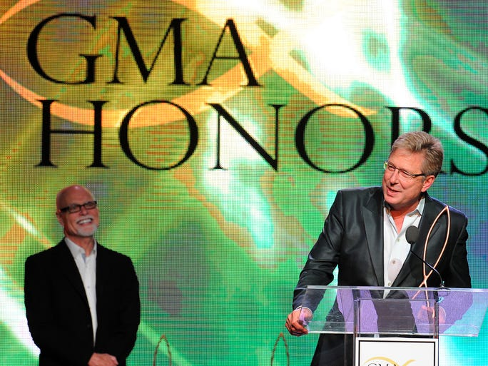 Honoree Don Moen speaks to the audience during the Gospel Music Association Honors Celebration.