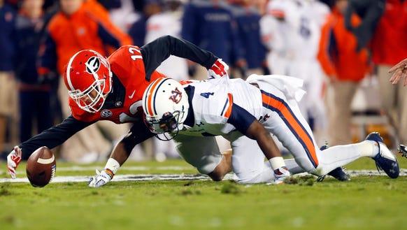 Auburn wide receiver Quan Bray muffed a punt return.