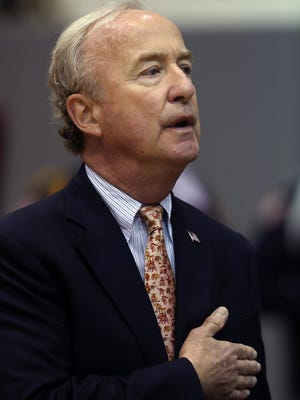 Congressman Rodney Frelinghuysen during the National Anthem at the County College of Morris 47th Commencement ceremony.  May 27, 2016, Randolph, NJ