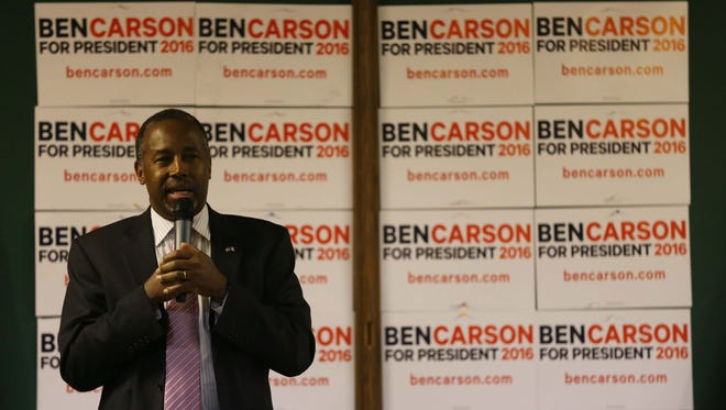 Presidential hopeful, Ben Carson speaks to a group of people at Cronk's Restaurant & Lounge in Denison on Monday, Jan. 11, 2016. Carson also held events in Fort Dodge, Jefferson, Sioux City and LeMars on Monday.