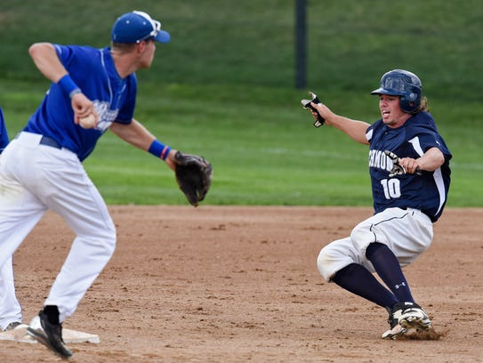 Richmond's Alex Budde slides into second during the