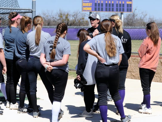 Wylie coach Heather Collier talks to her team before