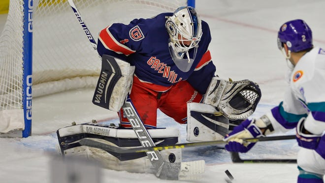 Greenville goalie .PJ. Musico is among the players expected to return to the Swamp Rabbits this season.