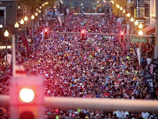 Runners line up for the 15th annual St. Jude Memphis Marathon in December 2016.