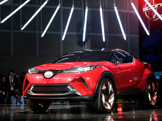 The Scion C-HR concept car is shown at the Los Angeles Auto Show on Wednesday, Nov. 18, 2015 in Los Angeles.
