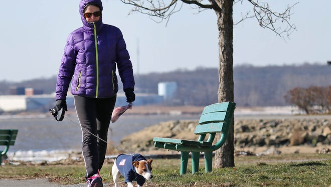 Stephanie Manning and her dog Shorty bundled up and bared the below freezing temperatures to take take walk in Battery Park in Old New Castle on Tuesday morning.