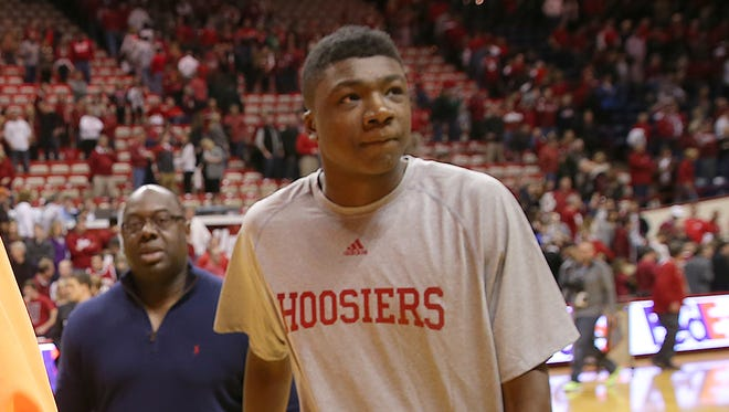 Thomas Bryant (right), pictured here during his unofficial visit in March, committed to IU on Saturday.