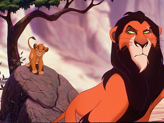 The Lion King, Simba (left) and Uncle Scar in a scene