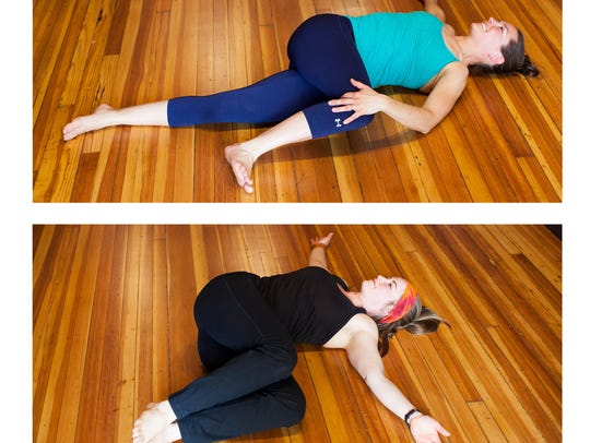 Supine pose, demonstrated by Amy Sipe, top, and Evy