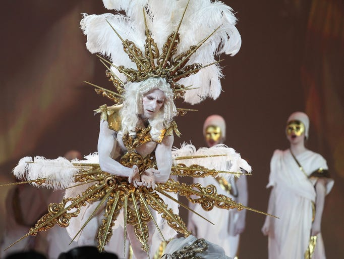 Artists perform on stage during the Lifeball 2014  at City Hall on May 31, 2014 in Vienna, Austria.