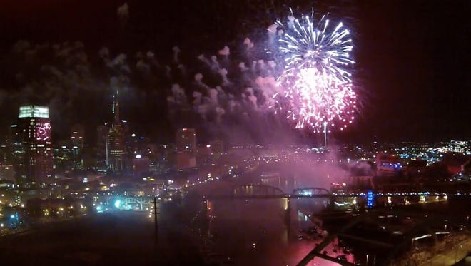 Nashville entrepreneur Robert Hartline captured the July 4, 2014 Nashville fireworks show from the air using a camera attached to a drone as part of a promotion for a new venture.