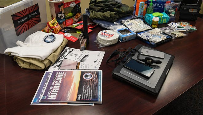 A FEMA recommended emergency kit for Hurricane Irma at the Emergency Preparations Meeting at the Anderson County Emergency Operations Center in Anderson on Thursday.