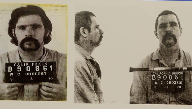 Old mugshots of Wilson Chouest were on display at a September 2015 press conference announcing the arrest in the 1980 murders of a woman found in Kern County and a pregnant woman found in Ventura County.