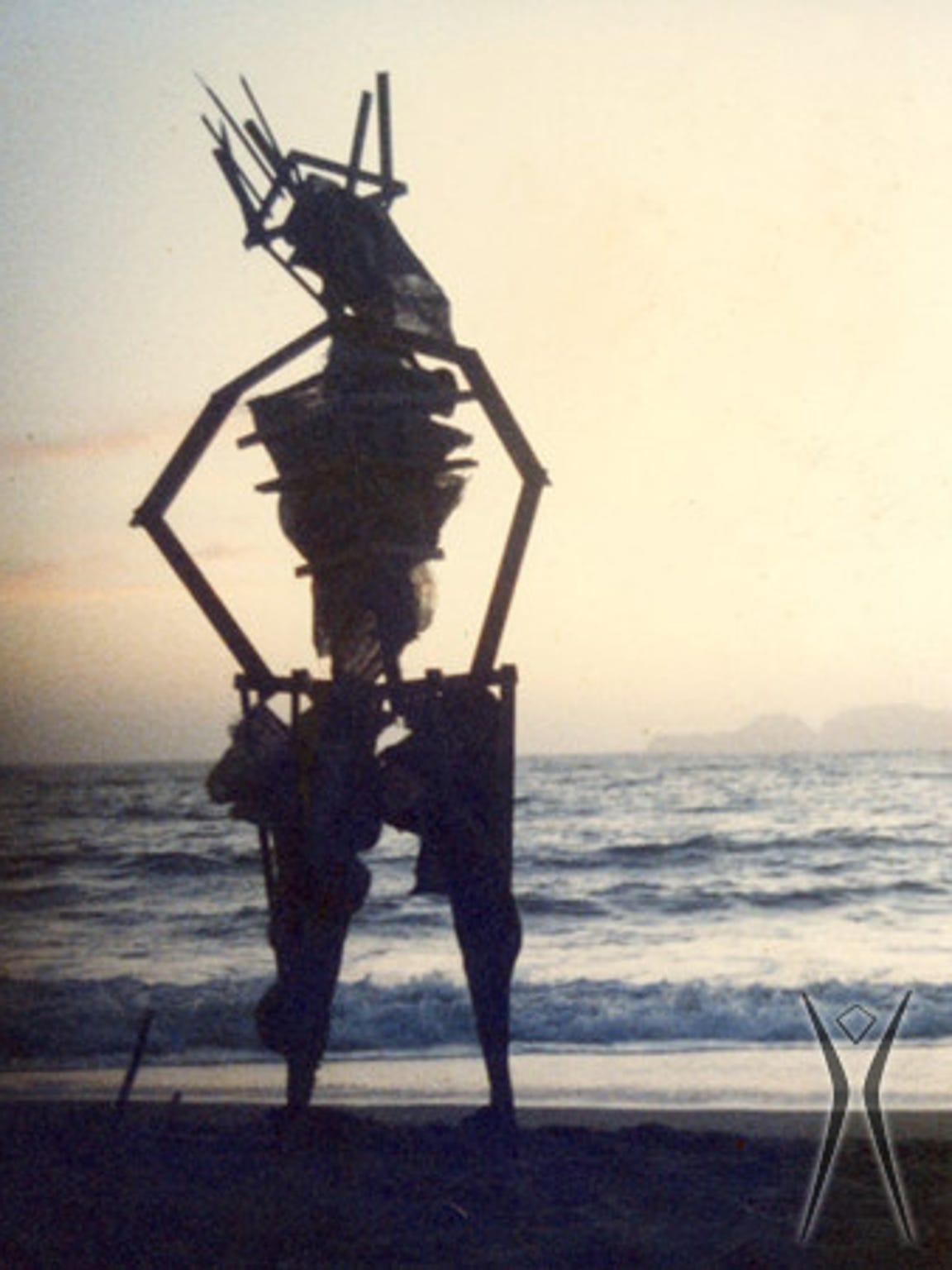 An image of the first man built in 1986 by Jerry James and Larry Harvey on Baker Beach in San Francisco.