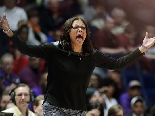 LSU head coach Nikki Fargas reacts to a call that went against her team in the second half of an NCAA college basketball game against Texas A&M at the women's Southeastern Conference tournament Friday, March 2, 2018, in Nashville, Tenn. (AP Photo/Mark Humphrey)