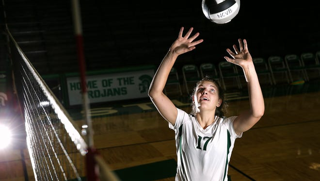 New Castle Trojans volleyball freshman Melani Shaffmaster sets the ball for a portrait after practice in New Castle, Ind., Wednesday, Sept. 21, 2016. Shaffmaster committed to play for the University of Minnesota in eighth grade and is a USA volleyball invitee.