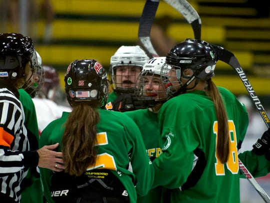 Vermont players react after a goal by Andi Boe, center, during the Make-A-Wish Twin State Hockey Classic on Saturday at Gutterson Fieldhouse.