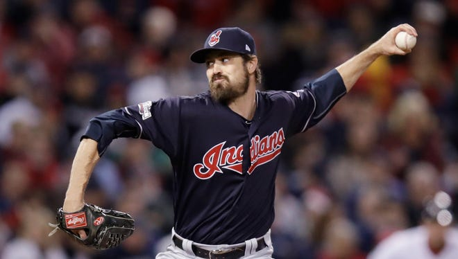 Cleveland Indians relief pitcher Andrew Miller delivers in Game 3 of baseball's American League Division Series, Monday, Oct. 10, 2016, in Boston.