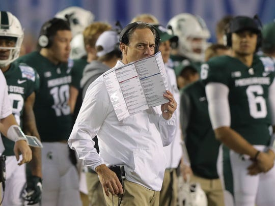 Michigan State coach Mark Dantonio on the sidelines during the fourth quarter of MSU's 42-17 win over Washington State in the San Diego County Credit Union Holiday Bowl on Thursday, Dec. 28, 2017, in San Diego.