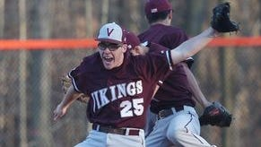 Valhalla's Conor Sullivan (25) celebrates with teammates after a 6-5 come from behind victory over Briarcliff in a boys baseball game at Briarcliff High School April 15, 2016.