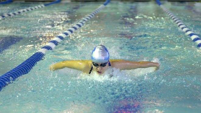 Vanessa Hernandez of Passaic Tech swimming the butterfly portion of the 200-yard individual medley.