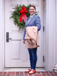 Kaci Clark-Potter wears a Brooks Brothers sport coat,