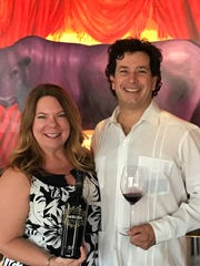 Wine writer Gina Birch with winemaker Rob Mondavi,