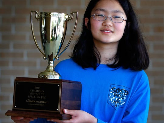 "March 5, 2016 - Soyeon Park won the Mid-South Spelling Bee with a correct spelling of the word ""segmentate"" and will advance to the Scripps National Spelling Bee in May. (Jim Weber/The Commercial Appeal)"