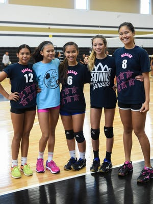 Members of the Haggan-NexGen Neni U14 girls volleyball during a team practice at the Tiyan High School Gym on June 22, 2017. The U14 team, along with the U18 team, will go onto compete in the USA Volleyball Girls' Junior National Championships in Minnesota.