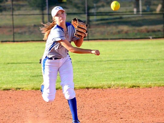 Carlsbad shortstop Jennifer Munro makes the putout