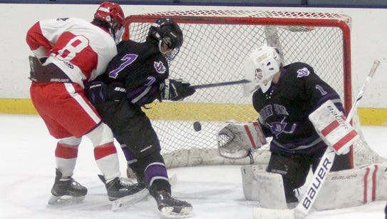 North Rockland's Luke MacMillan scores his second goal