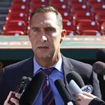 Cardinals General Manager John Mozeliak addresses members of the media prior to a game on April 27.
