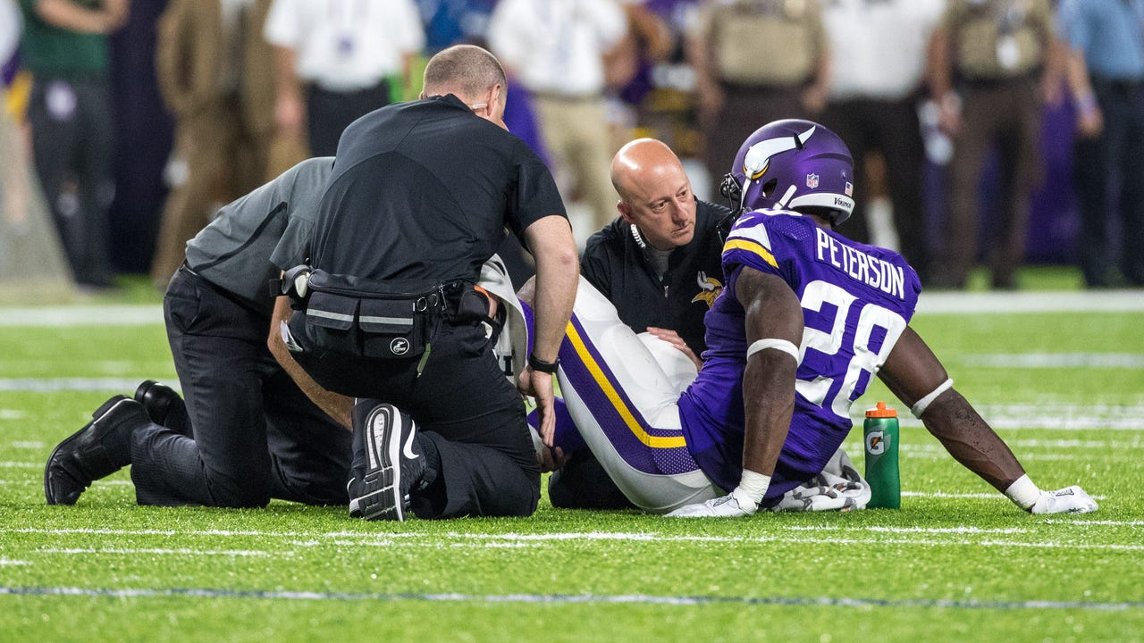 The Vikings running back suffered the injury in the third quarter of Minnesota's 17-14 win against the Green Bay Packers on Sunday night.
