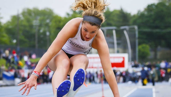 Ankeny Centennial's Kenna Sauer competes in the 4A girls long jump Friday, May 19, 2017, during the 2017 state meet at Drake Stadium in Des Moines.