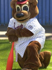 Ted E. Tourist as a mascot for the Asheville Tourists baseball team.