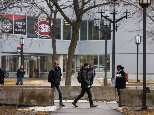 Students change classes Thursday, Jan. 25, on the campus of St. Cloud State University.